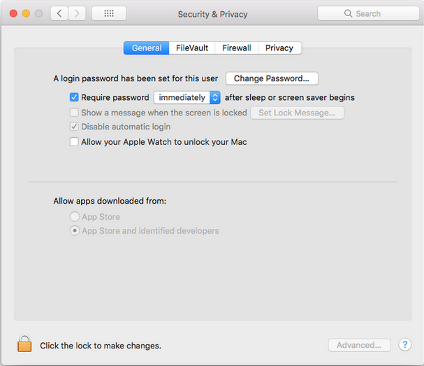 Security & Privacy settings MAC