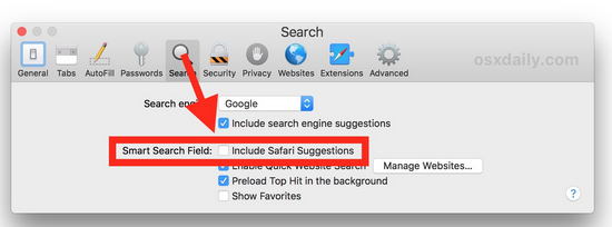 Include Safari Suggestions