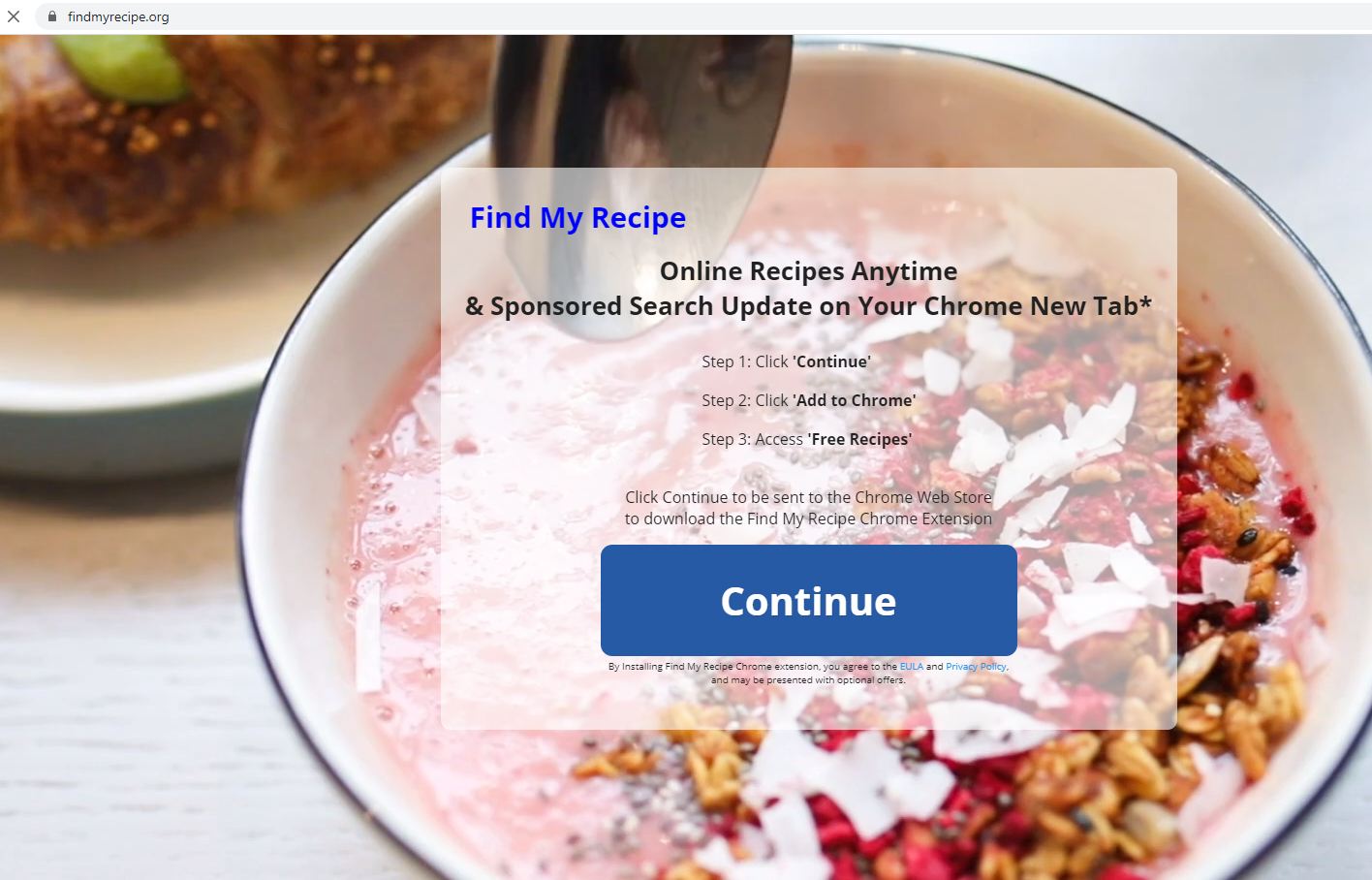 Find My Recipe Tab ads